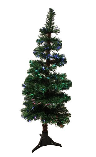 4' Pre-Lit Fiber Optic Artificial Spiral Pine