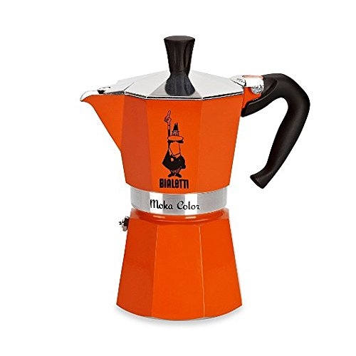 Bialetti 1-Piece Aluiminum Moka Colour 6 Cup, Orange