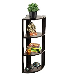 A10 Shop Alpha Corner Floor Shelf / Display Rack/ Storage Unit with 4 Shelves, 35 high -Wenge Finish
