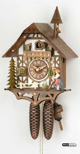 German Cuckoo Clock 8-day-movement Chalet-Style 15 inch - Authentic black forest cuckoo clock by Hekas