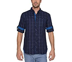 Copperstone Men's Casual Shirt (8903944575059_Blue_X-Large)