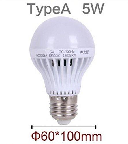 Bewegungsmelder Lampe LED E27Sound + Lichtsteuerung Auto Smart Erkennung für Tür Tor Treppe Lampe mit den Bewegungssensor Licht, Weiß, e27, 5.0 wattsW