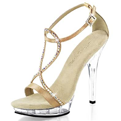 Elegant Satin Champagne Dress Shoes with Rhinestones and Clear 5 Inch Heels Size: 6
