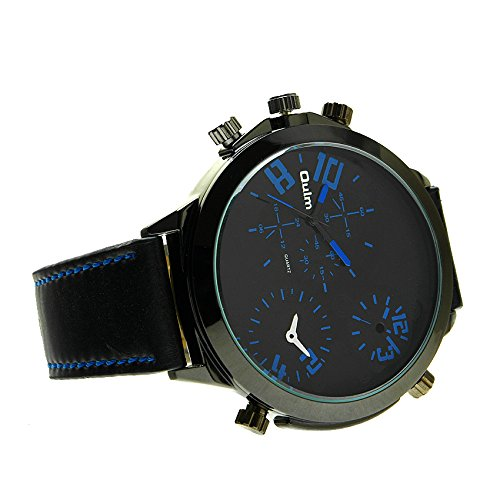 Fome Oulm Hp9423 Three Time Zone Display Quartz Movement Wrist Watch With Three Small Dials For Decoration Purpose Only Blue + Fome Gift