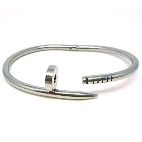 WINOMO Alto smalto Bangle Bracciale braccialetto in acciaio inox Nail Style(Silver)