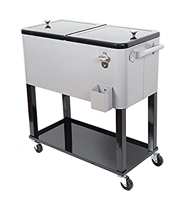 UPHA 80 Quart Rolling Cooler Cart Outdoor Patio Party Cooling Bin
