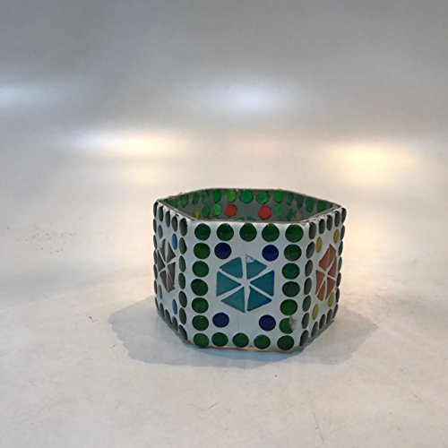 Dlite Crafts Multicolor Polka Design Home Decorative Votive Candle Holder, Set Of 2 PCs - B06XYL1MC3
