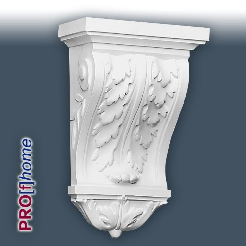 B404 Corbel has an acanthus leaf pattern, and the side panels feature a neat scroll relief. Used as a shelf bracket or lintel kneeler the product looks appropriate in older properties with high ceilings. The lightweight polyurethane moulding offer all the