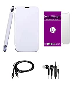 John Wilson Micromax Canvas Nitro A311 Flip Cover Mobile Essentials Basic Kit - White + Screen Cover + Ear Phone + Aux Cable