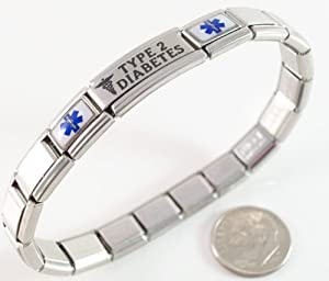 Type 2 Diabetes Medical ID Alert Italian Charm Bracelet Diabetic