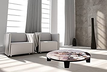 "TAF DECOR ""White on Brown"" Art Coffee Table, 35"" X 35"" X 7.5"", Multicolored"