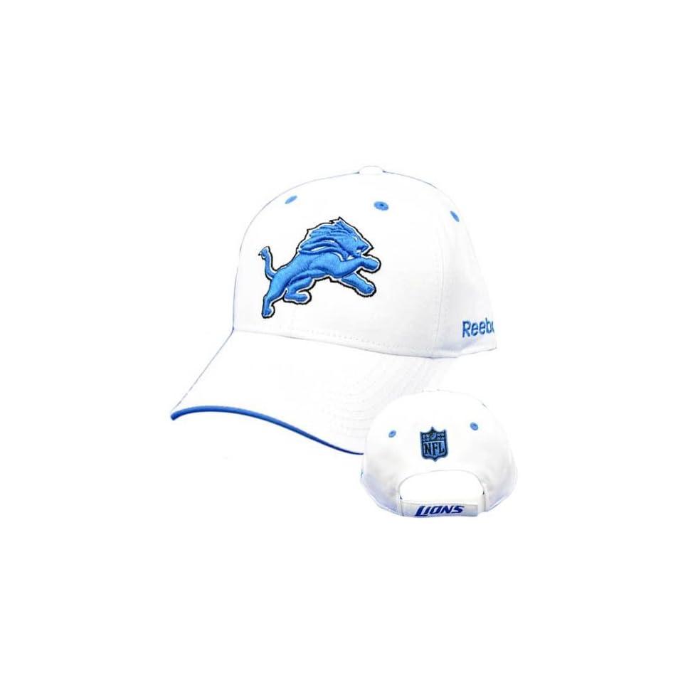 0ddc8d1f201 NFL Detroit Lions White Light Blue Reebok Curved Bill Hat Cap Licensed  Construct