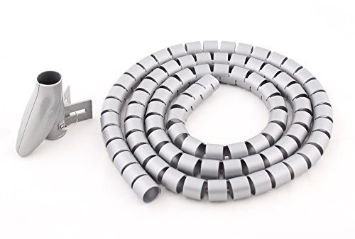 Ustek Cable Management With Thread Guide Cable Sleeve Cable Pipe, Silver Grey & 22Mm