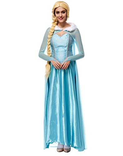 Roewe Snow Queen Elsa Fancy Dress Cosplay Costume Blue