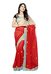 Offo Deals Womens Viscous Saree (TM-22_Red and Cream_Freesize)