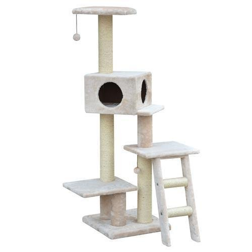 Sivart Vault PP1575 Modern Fleece Collection - NEAT - Multi-Level Fleece and Sisal w/ Teaser and Hideout Condo for Cat feather cat teaser toys
