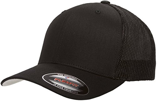 6511 Flexfit Mesh Cotton Twill Trucker Cap - OSFA (Black) (Low Profile Trucker Cap compare prices)