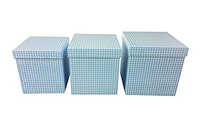Gingham Design Nested Boxes - Set of 3 for Baby Shower, Weddings, and Any Party