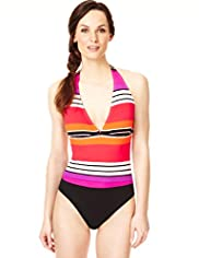 Tummy Control Halterneck Multi-Striped Swimsuit