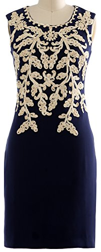 [MACloth Women Vintage Embroidery Sleeveless Short Cocktail Party OL Summer Dress (Large, Dark Navy)] (1980s Dress)