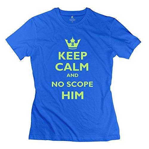 Women'S Slim Fit T Shirts Keep Calm N No Scope Him 100% Cotton front-544929