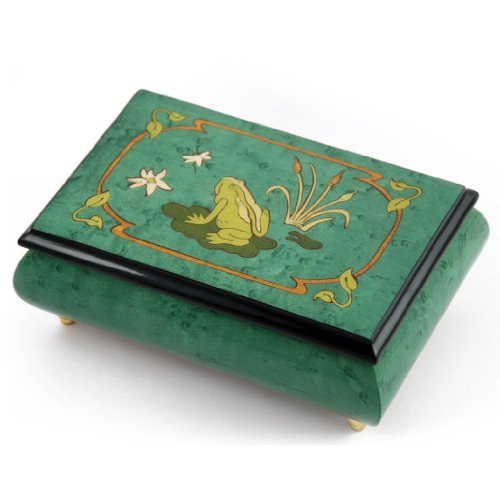 Brilliant Green Stain 22 Note Musical Jewelry Box with Frog on Lily Pad with Fireflies Wood Inlay with 22 Note Tune-Rhapsody In Blue