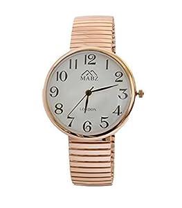 Unisex Reloj Brazalete Oro Rosa Expandible Diseñador Moda MAB Reloj Brazalete Redondo - BebeHogar.com