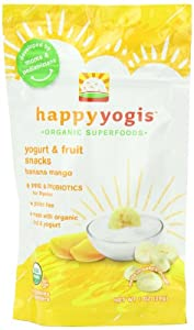 Happy Yogis Organic Yogurt and Fruit Snacks for Babies and Toddlers, Banana Mango, 1-Ounce Pouches (Pack of 8)