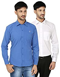 FOCIL Blue & white Solid Full Sleeves Casual Shirt