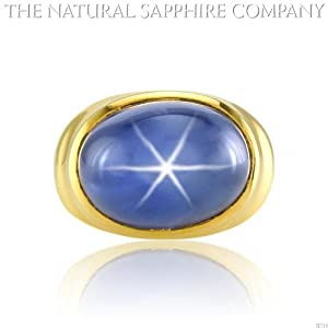 35.00ct Natural Untreated Blue Star Sapphire Ring set in 18k Yellow Gold Tiffany's Mounting (J2755)