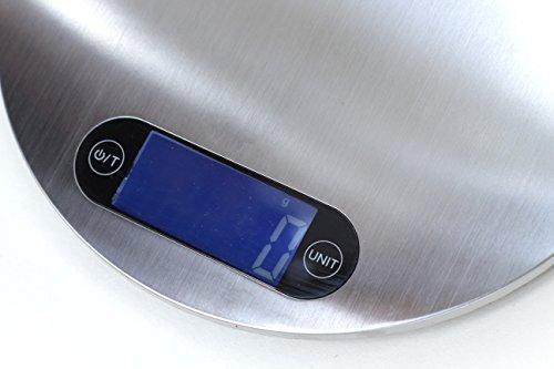RunFa Balance De Cuisine Numérique en Design Ultra Svelte avec Plateforme en Acier Inox & Trou D'Accrochage - Pile Inclus