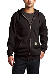 Carhartt Men\'s Big & Tall Midweight Sweatshirt Hooded Zip Front Original Fit K122,Black,X-Large Tall
