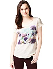 Pure Cotton Placement Floral Top
