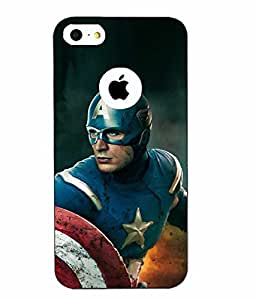 Case Cover Captain America Printed Blue Hard Back Cover For Apple Iphone 5/5S
