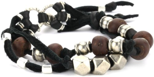 Ettika Men's Black 3 Strand Leather Bracelet