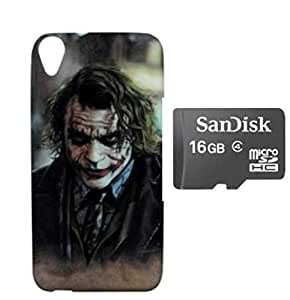 ZOOP Premium High Quality Rubberized Protective Printed Case Cover for HTC D820 -The joker (Batman) With 16GB Sd Card