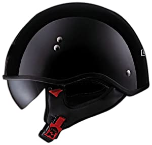 LS2 Helmets HH566 Casing Half Helmet with Non-Changeable Visor (Gloss Black, X-Small)