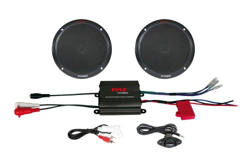 Pyle PLMRKT2B 2 Channel 400 Watt Waterproof Micro Marine Amplifier and 6.5-Inch Speaker System