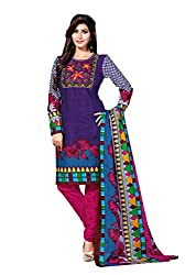 Aarti Apparels Women's Cotton Unstitched Dress Material _MAHARANI-07_Blue and Pink