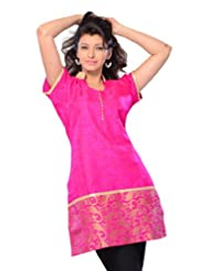 Miss & Mrs Women's Jacquard Pink Cap Sleeves Kurti With Lace Border