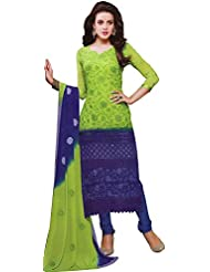 Exotic India Lime-Green And Blue Shaded Long Choodidaar Kameez Suit With - Green