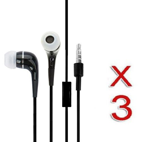 Black Headphone Headset With Microphone For Apple ® Iphone ® 4 4S 3G 3Gs Ipod ® (3 Pack)