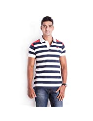 Sting White With Red Striped Slim Fit Half Sleeve Polo T-Shirt For Men