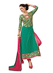 Idha Green Semi-Stitched Embroidered Salwar Suit For Women