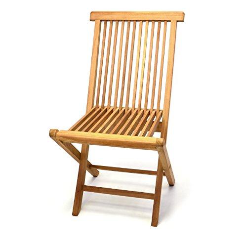Klappstuhl Teakstuhl Gartenstuhl Teak Holz Stuhl für Terrasse Balkon Wintergarten witterungsbeständig behandelt massiv klappbar natur