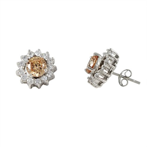 Sterling Silver Champagne CZ Teens Women Border Stud Earrings 6mm