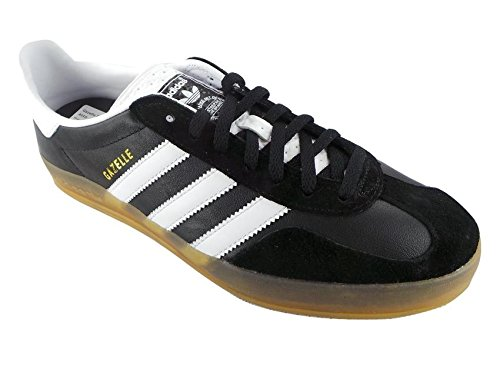 pictures of Adidas Gazelle Indoor Mens Leather Trainers Black White 7.5 US