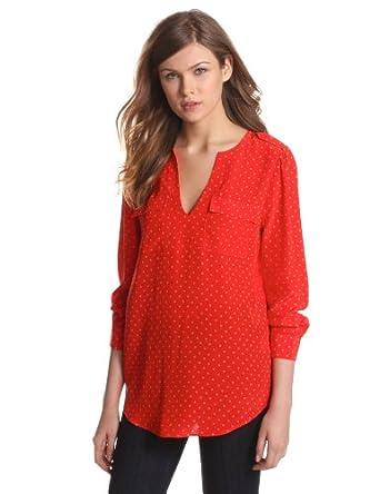 Joie Women's Marlo Polka Dot Silk Blouse, Fiery Red, Medium