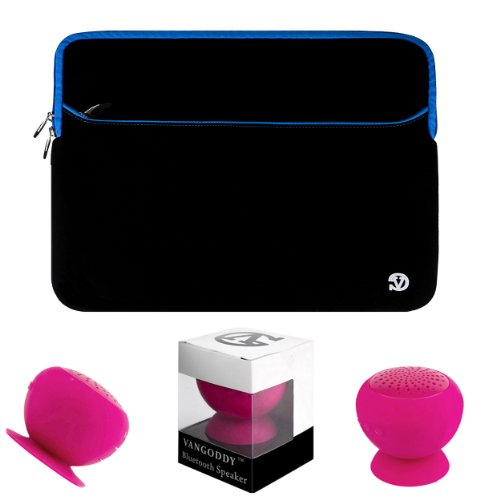 "Neoprene / Animal Fur Design Sleeve For Lenovo Miix 2 11"" & Ideatab Lynx K3 / K3011 11.6"" Tablet + Pink Bluetooth Suction Speaker + Stylus"