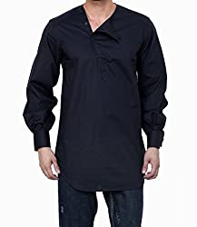 Dazzio Men's Slim Fit Cotton Casual Kurta (DZSH0144_Grey_44)
